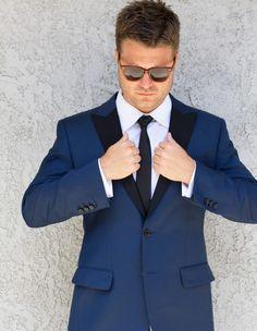 Slim Fit Royal Blue Tuxedo Black Trim Matching Pants Or Black
