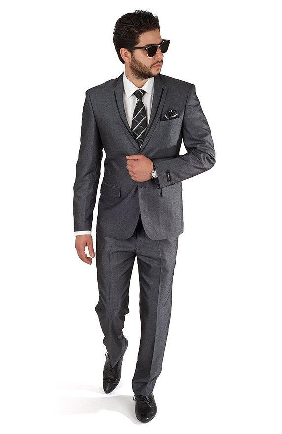 slim grey tux